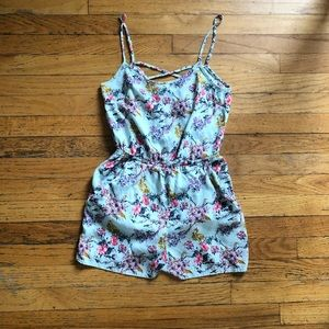 Divided by H&M Blue Floral Romper